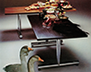 Pieff Edel tables in rosewood and marble with cylindrical chrome legs